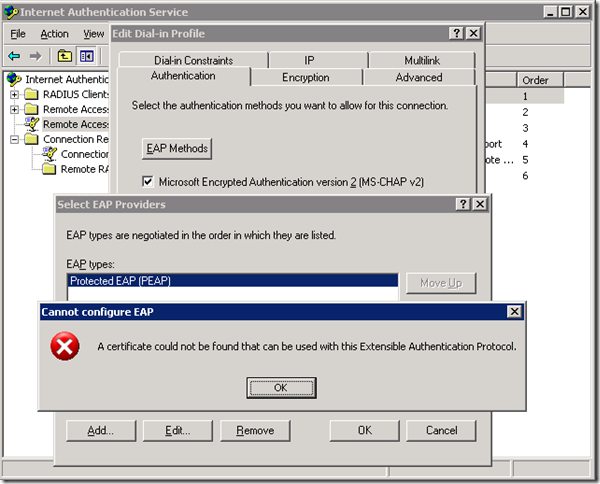 certificate protocol authentication extensible found ias error cloud could